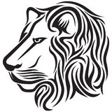 Lion head tribal tattoo. The lion's head, black and white tattoo of a lion emblem Stock Photography