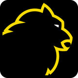 Lion head (vector). Simple icon illustration of a lion head in white and yellow vector illustration stock illustration