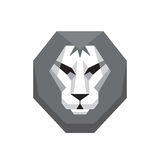 Lion head - vector logo sign concept illustration in flat style design in grayscale colors. Wild cat graphic art. Design element.  Royalty Free Stock Photography