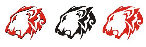 Lion head vector - three options. Stylization of the growling lion in red-black colors Royalty Free Stock Photo