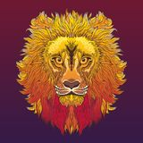 Lion Head Vektorillustration in der ethnischen Art Stockbilder