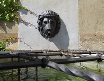 Lion Head Wall Water Fountain Stockfotografie