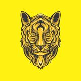 Golden lion head royalty free illustration