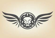 Lion head with wings Stock Photography