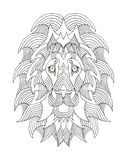 Lion head zentangle stylized, vector, illustration, freehand pen Royalty Free Stock Photos