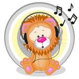 Lion with headphones Stock Photo