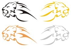 Lion heads. Four stylized lions heads on a white background for your design Stock Photography