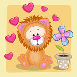 Lion with heart and flower Royalty Free Stock Photo