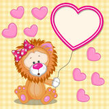 Lion with heart frame Royalty Free Stock Image