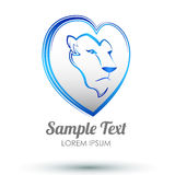 Lion heart icon design - Lion head and love heart emblem Royalty Free Stock Images