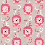 Lion with heart seamless pattern Stock Images