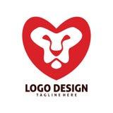 Lion hearth logo design. Lion love hearth logo design Stock Photos