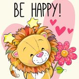 Lion with hearts and a flower. Be Happy Greeting card Lion with hearts and a flower stock illustration