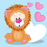 Lion with hearts. Greeting card Lion with hearts Royalty Free Stock Image