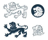 Lion Heraldic Silhouette Stock Images