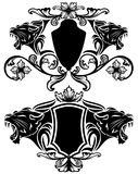 Lion heraldry vector. Roaring panther heraldic emblems - black animal heads and fine decorative shields Stock Images