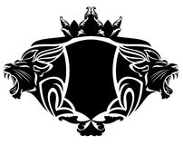 Lion heraldry. Royal lion with crown black and white vector design element Royalty Free Stock Images