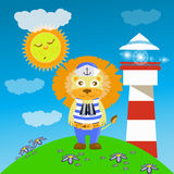 Lion on the hill from the lighthouse. Children s illustration. is used to print, website, smartphone, design, textiles, ceramics, fabrics, prints postcards Royalty Free Stock Photo