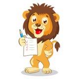 Lion Holding Up His Grades sveglio Vettore del fumetto Immagine Stock