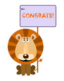 Lion holds a sign with an inscription congrats. Lion holds a sign with an inscription `CONGRATS`. Vector illustration stock illustration