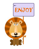 Lion holds a sign with an inscription enjoy. Lion holds a sign with an inscription `ENJOY`. Vector illustration Royalty Free Stock Images