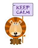Lion holds a sign with an inscription `KEEP CALM`. Vector illustration vector illustration