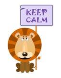 Lion holds a sign with an inscription `KEEP CALM` Stock Photo