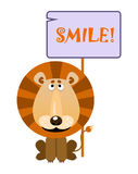 Lion holds a sign with an inscription smile. Lion holds a sign with an inscription `SMILE`. Vector illustration stock illustration