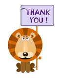 Lion holds a sign with an inscription thank you. Lion holds a sign with an inscription `THANK YOU`. Vector illustration stock illustration