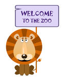 Lion holds a sign with an inscription welcome to the zoo. Lion holds a sign with an inscription `WELCOME TO THE ZOO`. Vector illustration royalty free illustration