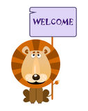Lion holds a sign with an inscription welcome. Lion holds a sign with an inscription `WELCOME`. Vector illustration royalty free illustration