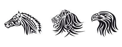 Lion, horse, eagle Stock Photos