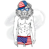 Lion with a human body in swimming trunks. The man with a beautiful body. Vector illustration for greeting card, poster, or print Royalty Free Stock Images