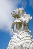 A lion and human statue. In Thai temple stock image