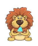 Lion ice cream mascot and background vector illustration