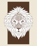 Lion Icon Animal et conception prédatrice ornementale Dessin de vecteur Illustration Stock