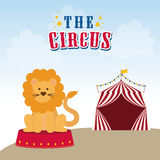 Lion icon. Circus and Carnival design. Vector graphic. Circus and carnival concept represented by Lion icon. Colorfull illustration Stock Photography