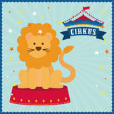 Lion icon. Circus and Carnival design. Vector graphic. Circus and carnival concept represented by Lion icon. Colorfull illustration Royalty Free Stock Images