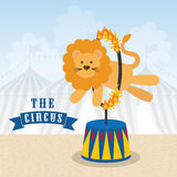 Lion icon. Circus and Carnival design. Vector graphic. Circus and carnival concept represented by Lion icon. Colorfull illustration Royalty Free Stock Image