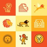Lion icons vector set Royalty Free Stock Image