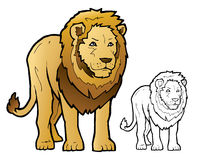 Lion Illustration. This vector drawing is an illustration of an male lion. The file also contains a line art (Black and white) version of the drawing. This lion Stock Images