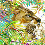 Lion illustration. Tropical exotic forest, green leaves, wildlife, lion, watercolor illustration. Royalty Free Stock Photo