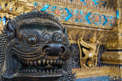 Lion image in old Thai temple Stock Photography