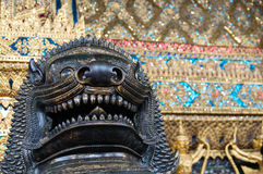 Lion image in old Thai temple Royalty Free Stock Photos