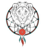 Lion indian warrior, animal hand drawn illustration, native american poster.  Hand draw vector illustration Royalty Free Stock Photo