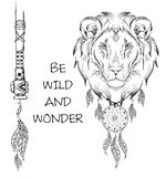 Lion indian warrior, animal hand drawn illustration, native american poster.  Hand draw vector illustration Royalty Free Stock Photos
