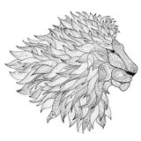 Lion isolated. Animal zentangle hand drawn illustration Stock Images
