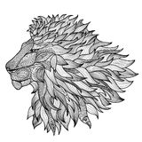 Lion isolated. Animal zentangle ornamental logo Stock Photo
