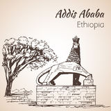 Lion of Judah statue - Addis ababa. Sketch. Royalty Free Stock Photos
