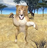 Lion jumping. 3d render of an lion, jumping Stock Image